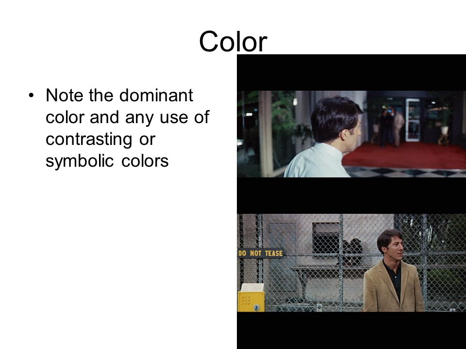 Color Note the dominant color and any use of contrasting or symbolic colors