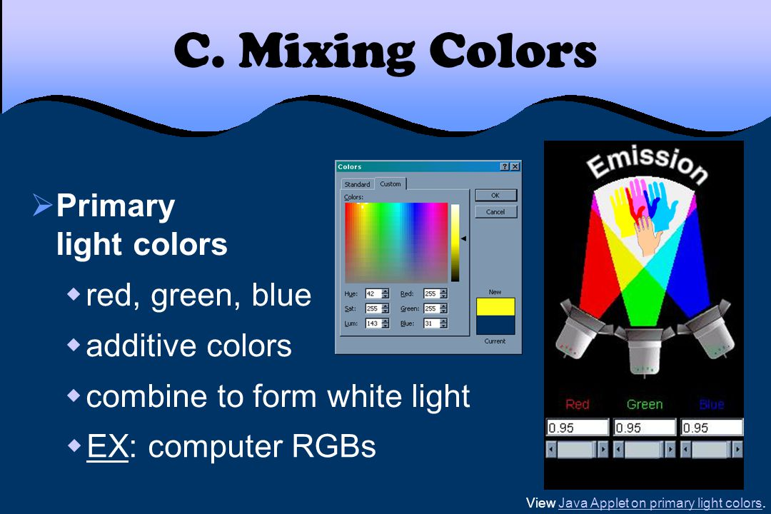 C. Mixing Colors  Primary light colors  red, green, blue  additive colors  combine to form white light View Java Applet on primary light colors.Ja