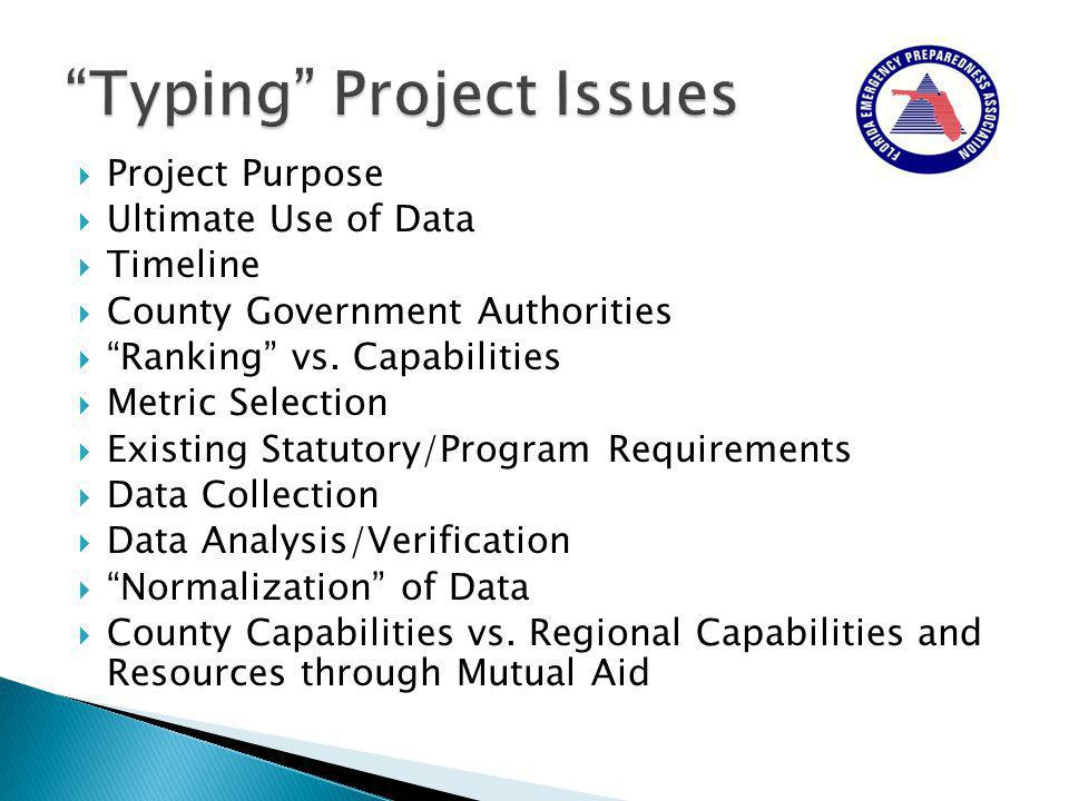  Project Purpose  Ultimate Use of Data  Timeline  County Government Authorities  Ranking vs.