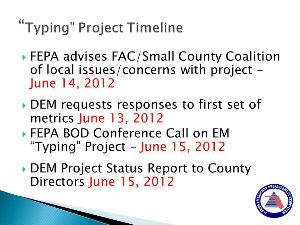  FEPA advises FAC/Small County Coalition of local issues/concerns with project – June 14, 2012  DEM requests responses to first set of metrics June 13, 2012  FEPA BOD Conference Call on EM Typing Project – June 15, 2012  DEM Project Status Report to County Directors June 15, 2012