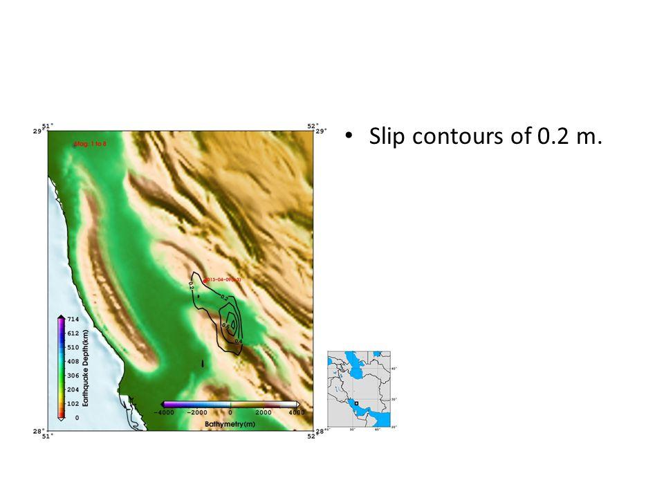 Slip contours of 0.2 m.
