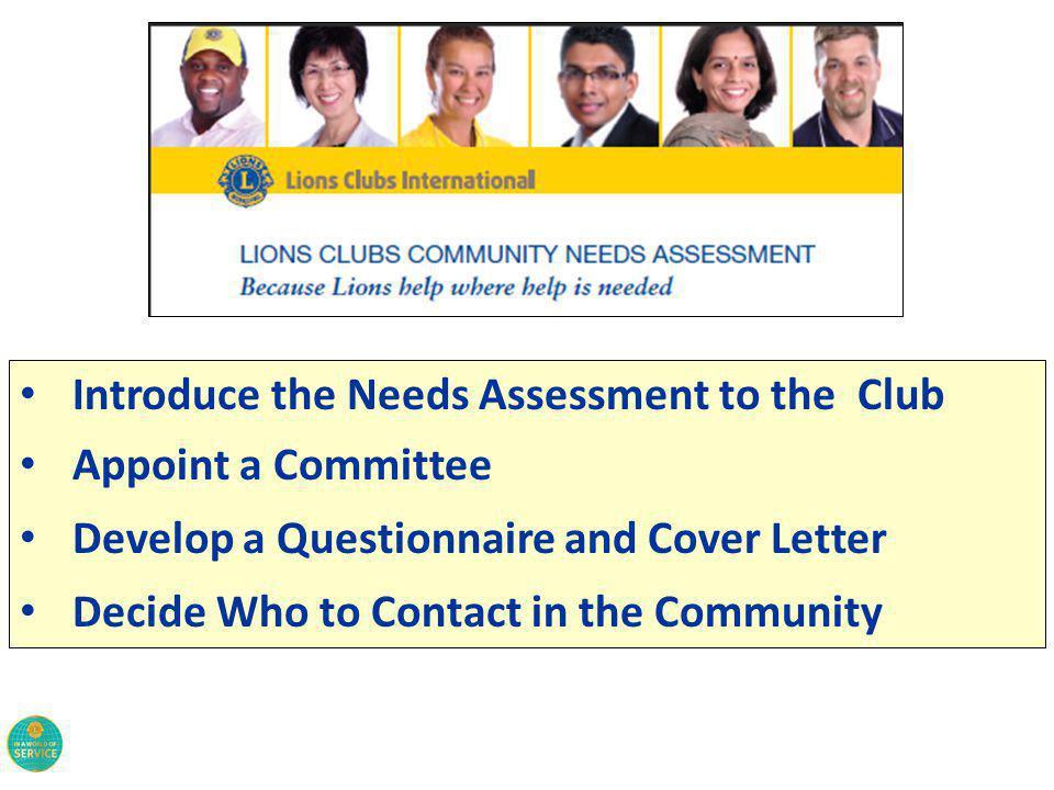 Ideas…….. Community Needs Assessment