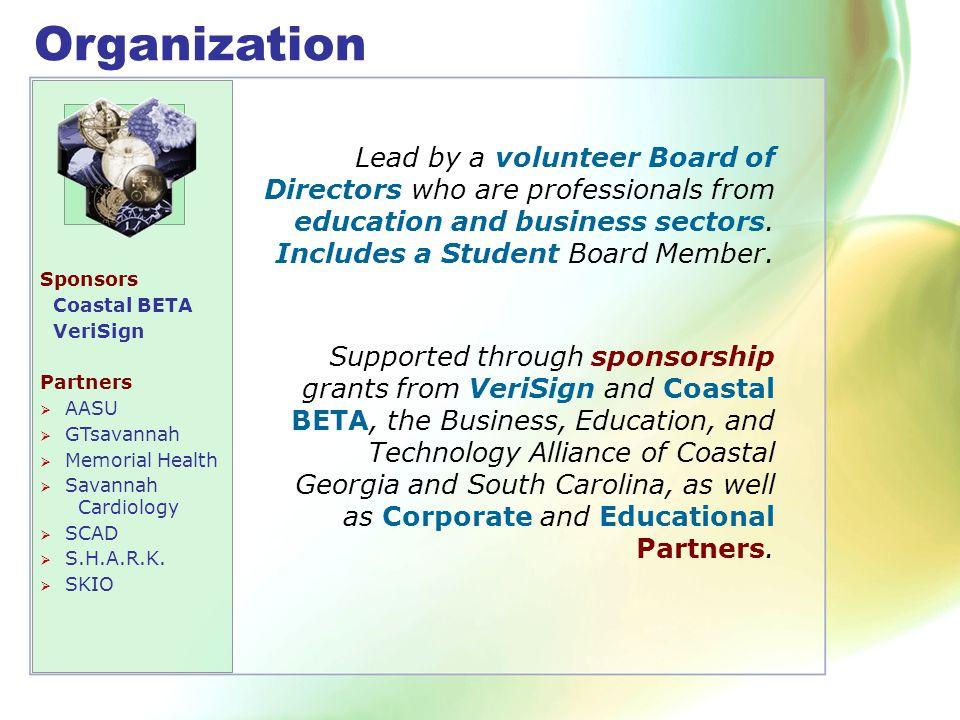 Organization Sponsors Coastal BETA VeriSign Partners  AASU  GTsavannah  Memorial Health  Savannah Cardiology  SCAD  S.H.A.R.K.