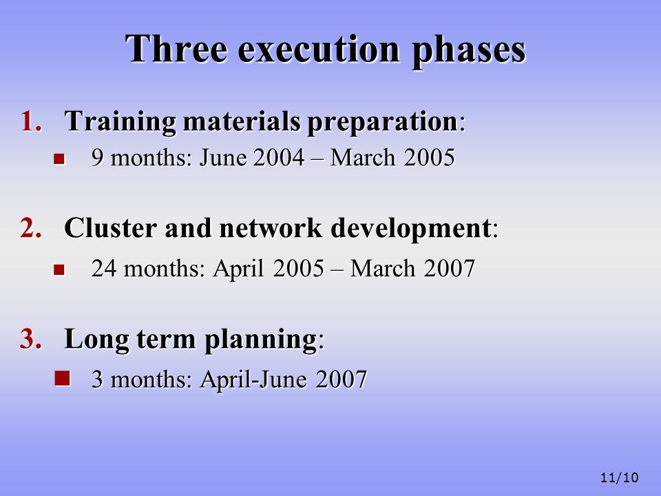 11/10 Three execution phases 1.Training materials preparation: 9 months: June 2004 – March 2005 9 months: June 2004 – March 2005 2.Cluster and network