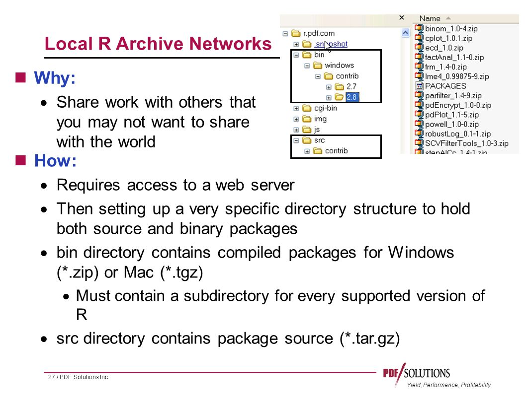 Yield, Performance, Profitability Local R Archive Networks Why:  Share work with others that you may not want to share with the world 27 / PDF Solutions Inc.