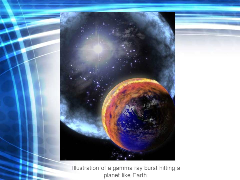 Illustration of a gamma ray burst hitting a planet like Earth.