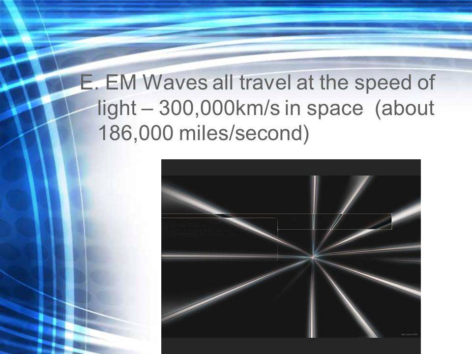 Ch 18.2 – The EM Spectrum A.EM Waves have a series of different frequencies and wavelengths called the EM spectrum 1.