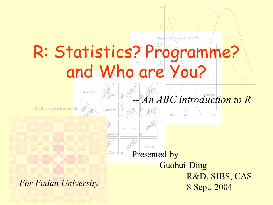 R: Statistics. Programme. and Who are You.