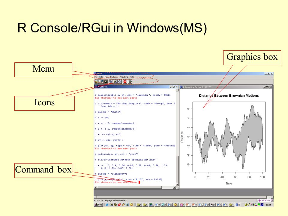 R Console/RGui in Windows(MS) Command box Graphics box Menu Icons