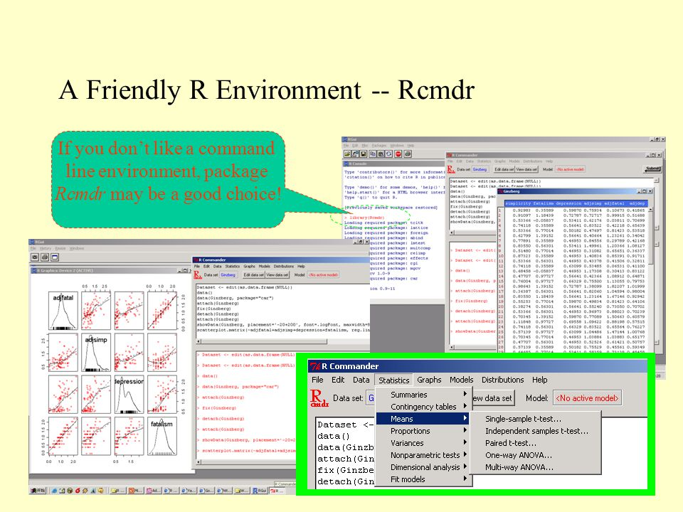 A Friendly R Environment -- Rcmdr If you don't like a command line environment, package Rcmdr may be a good choice!