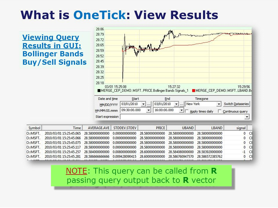 What is OneTick: View Results Viewing Query Results in GUI: Bollinger Bands Buy/Sell Signals NOTE: This query can be called from R passing query output back to R vector NOTE: This query can be called from R passing query output back to R vector
