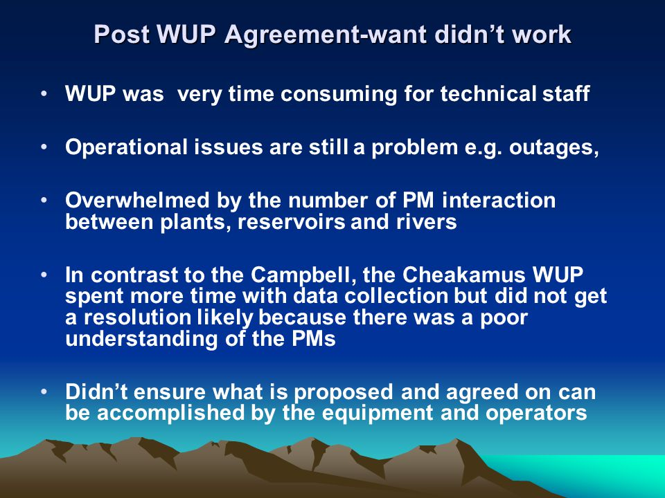 Post WUP Agreement-want didn't work WUP was very time consuming for technical staff Operational issues are still a problem e.g. outages, Overwhelmed b