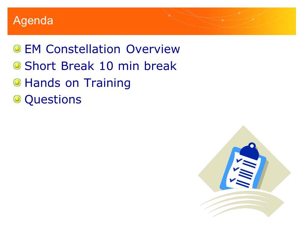 Agenda EM Constellation Overview Short Break 10 min break Hands on Training Questions