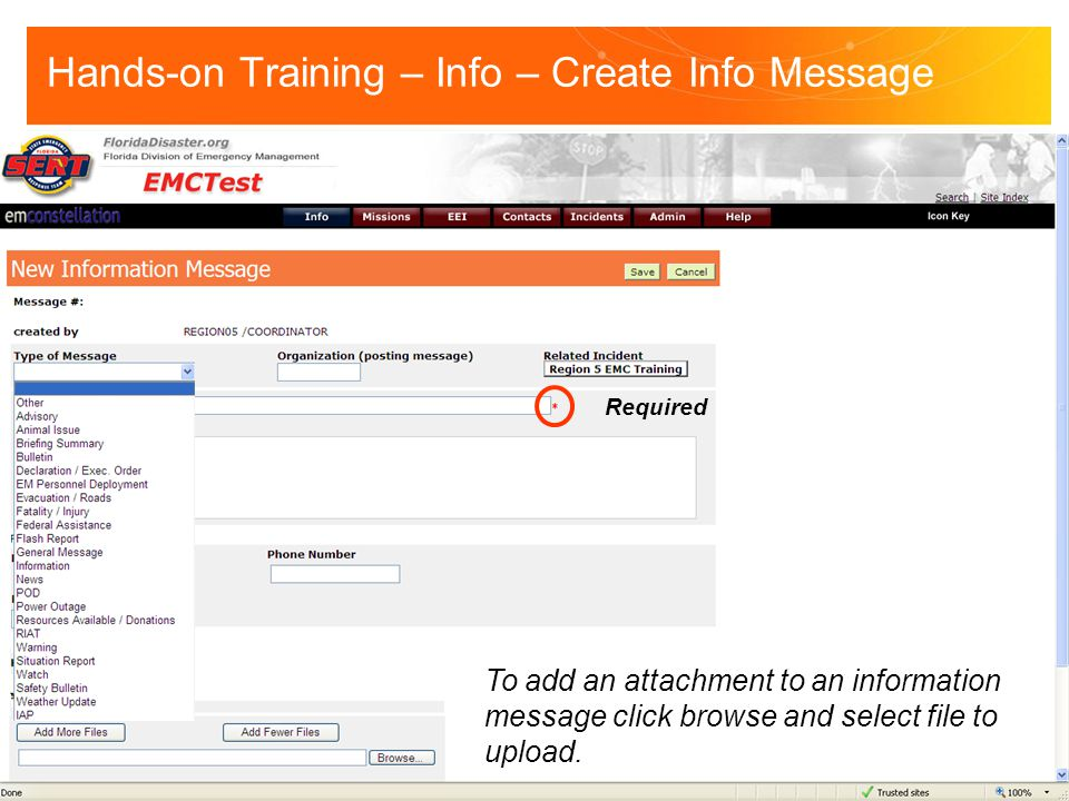 Required To add an attachment to an information message click browse and select file to upload.
