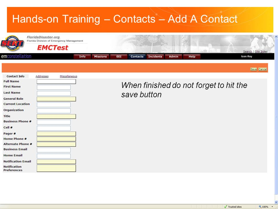 When finished do not forget to hit the save button