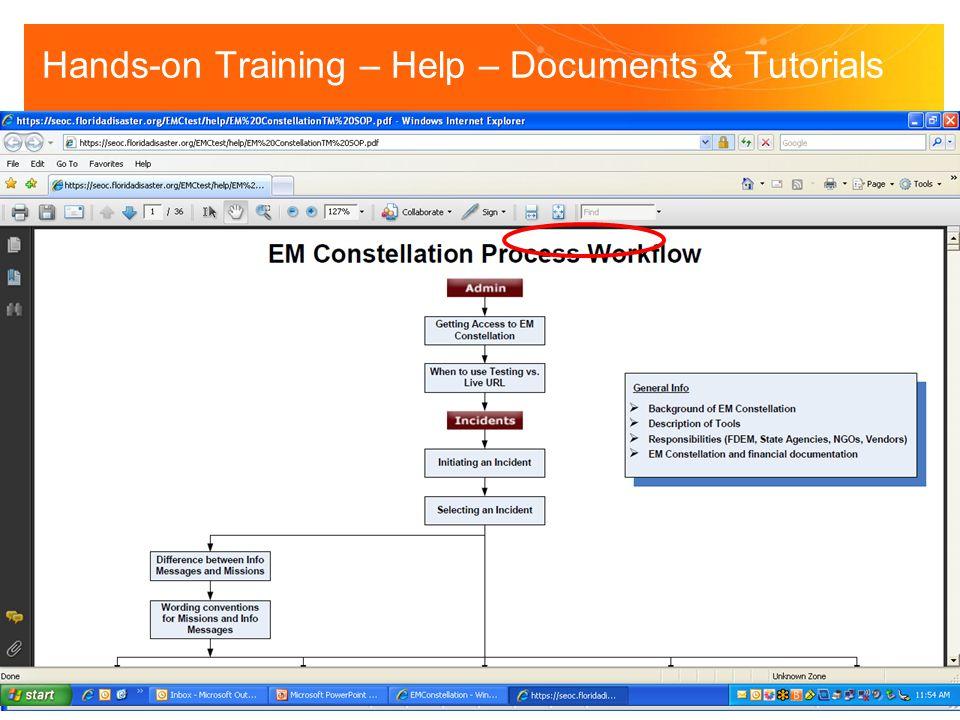 Hands-on Training – Help – Documents & Tutorials