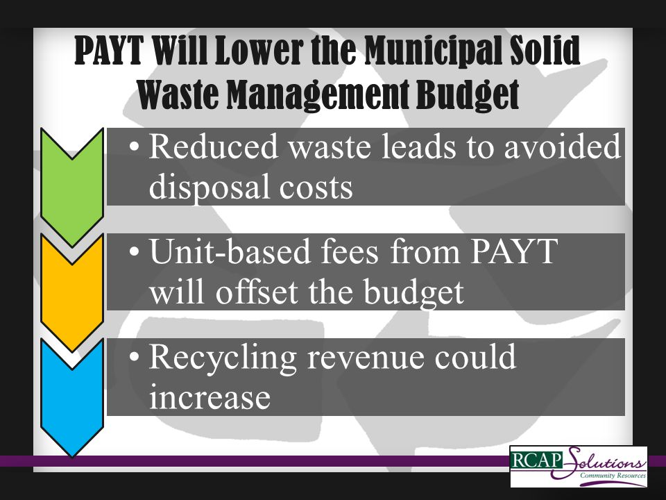PAYT Will Lower the Municipal Solid Waste Management Budget Reduced waste leads to avoided disposal costs Unit-based fees from PAYT will offset the budget Recycling revenue could increase