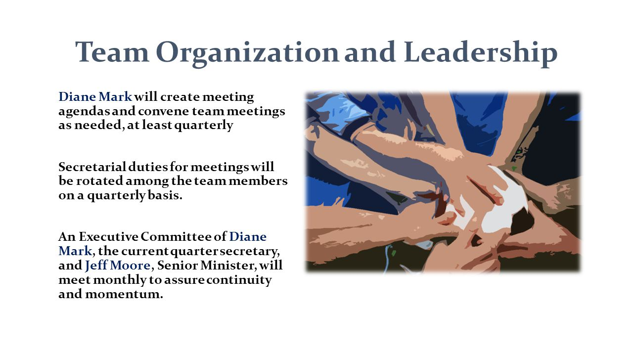Team Organization and Leadership Diane Mark will create meeting agendas and convene team meetings as needed, at least quarterly Secretarial duties for meetings will be rotated among the team members on a quarterly basis.