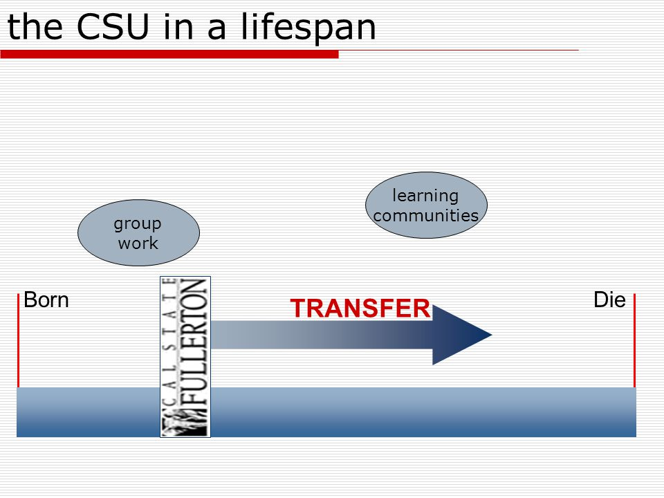 BornDie the CSU in a lifespan TRANSFER learning communities group work