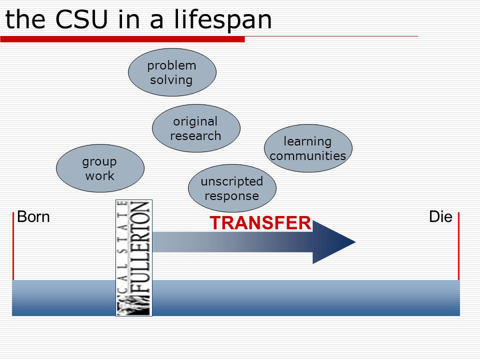 BornDie the CSU in a lifespan TRANSFER original research learning communities group work problem solving unscripted response