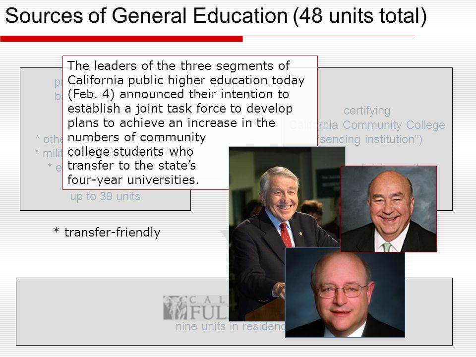 Sources of General Education (48 units total) nine units in residence certifying California Community College ( sending institution ) 39 lower-division units prior learning at the baccalaureate level ( pass-along ) * other CCCs or four-years * military and other training * external exams (AP) up to 39 units * transfer-friendly The leaders of the three segments of California public higher education today (Feb.