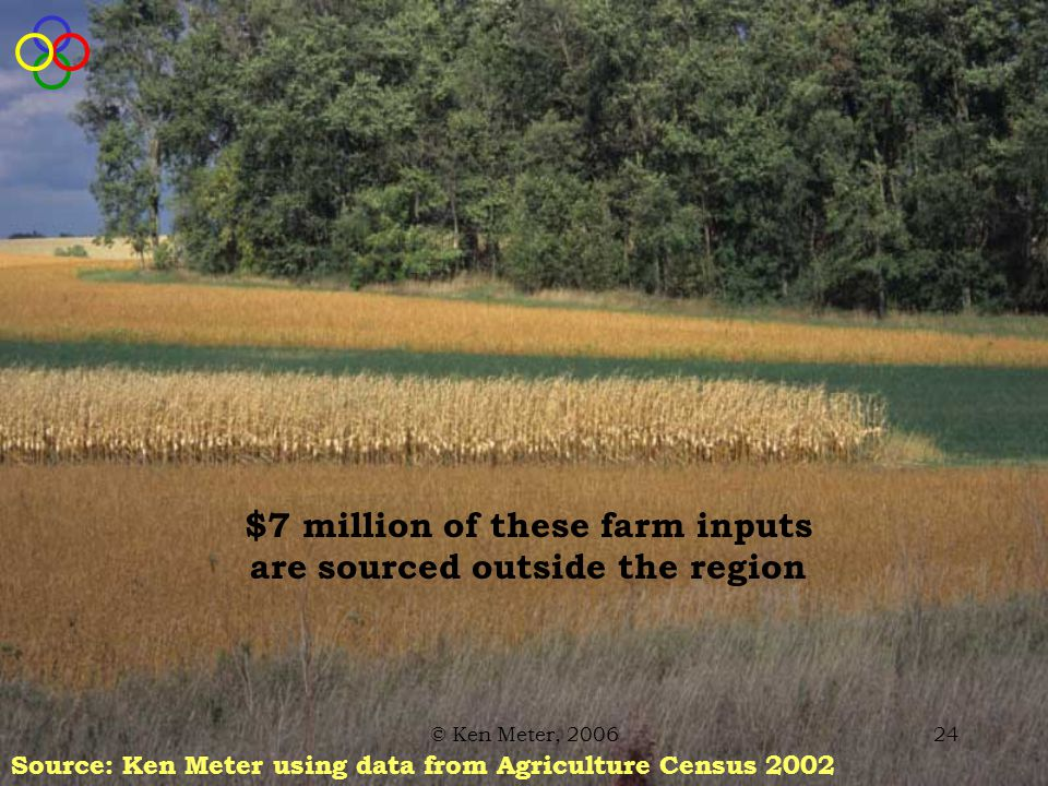 © Ken Meter, 200624 $7 million of these farm inputs are sourced outside the region Source: Ken Meter using data from Agriculture Census 2002
