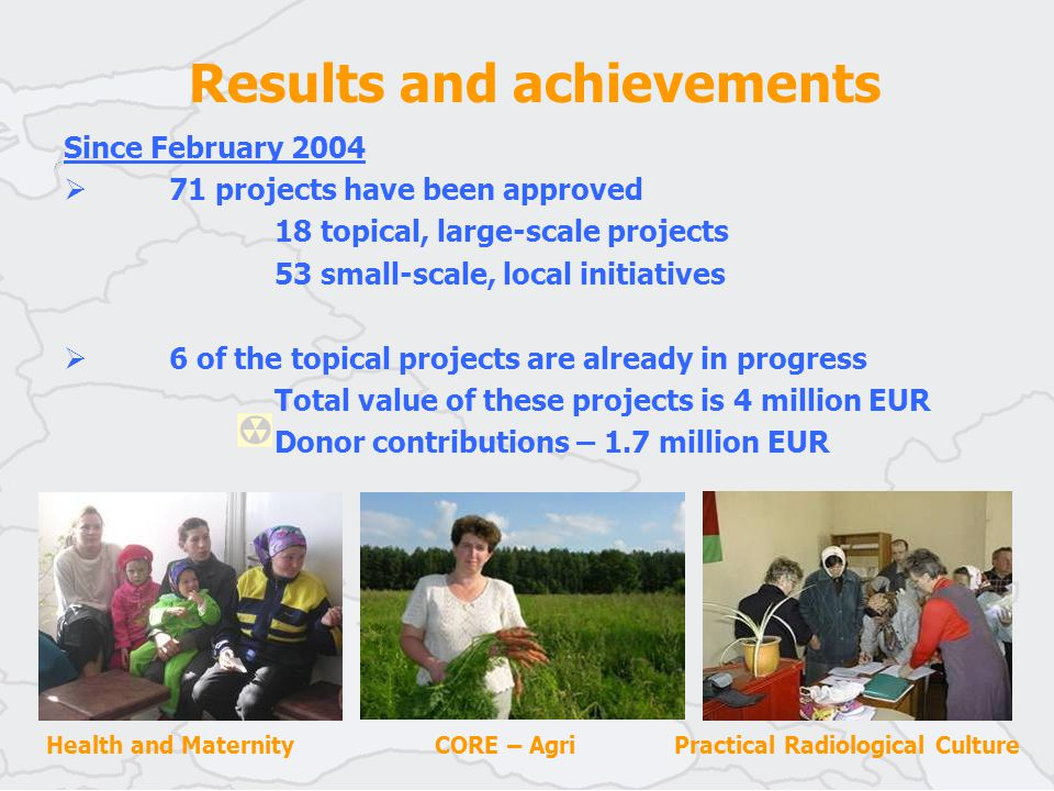 Results and achievements Health and Maternity CORE – Agri Practical Radiological Culture Since February 2004  71 projects have been approved 18 topical, large-scale projects 53 small-scale, local initiatives  6 of the topical projects are already in progress Total value of these projects is 4 million EUR Donor contributions – 1.7 million EUR