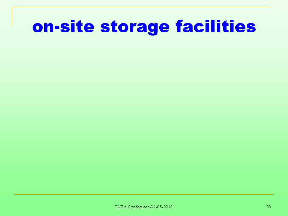IAEA Conference-31-05-2010 20 on-site storage facilities
