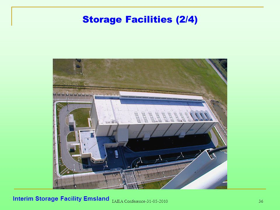 IAEA Conference-31-05-2010 36 Storage Facilities (2/4) Interim Storage Facility Emsland