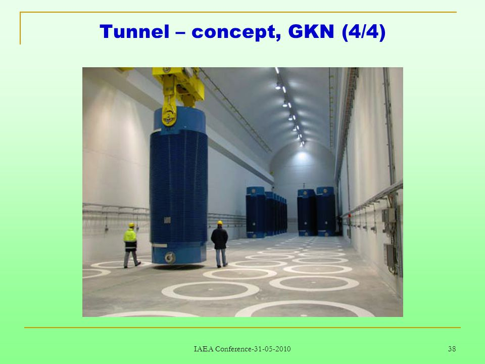 IAEA Conference-31-05-2010 38 Tunnel – concept, GKN (4/4)