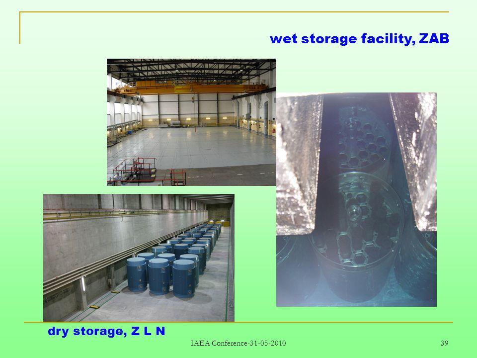 IAEA Conference-31-05-2010 39 wet storage facility, ZAB dry storage, Z L N