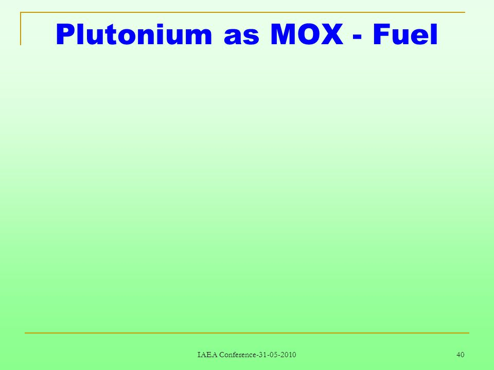IAEA Conference-31-05-2010 40 Plutonium as MOX - Fuel