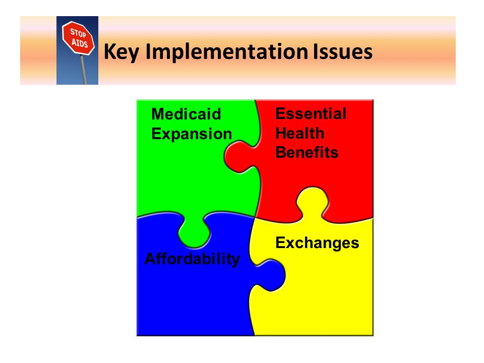 Key Implementation Issues Medicaid Expansion Essential Health Benefits Affordability Exchanges
