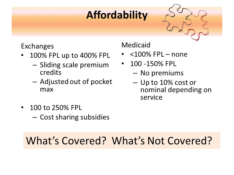 Affordability Exchanges 100% FPL up to 400% FPL – Sliding scale premium credits – Adjusted out of pocket max 100 to 250% FPL – Cost sharing subsidies Medicaid <100% FPL – none 100 -150% FPL – No premiums – Up to 10% cost or nominal depending on service What's Covered.