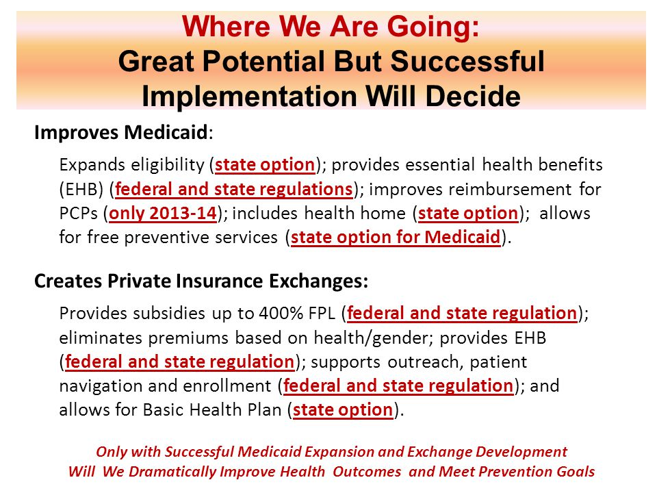 Where We Are Going: Great Potential But Successful Implementation Will Decide Improves Medicaid: Expands eligibility (state option); provides essentia