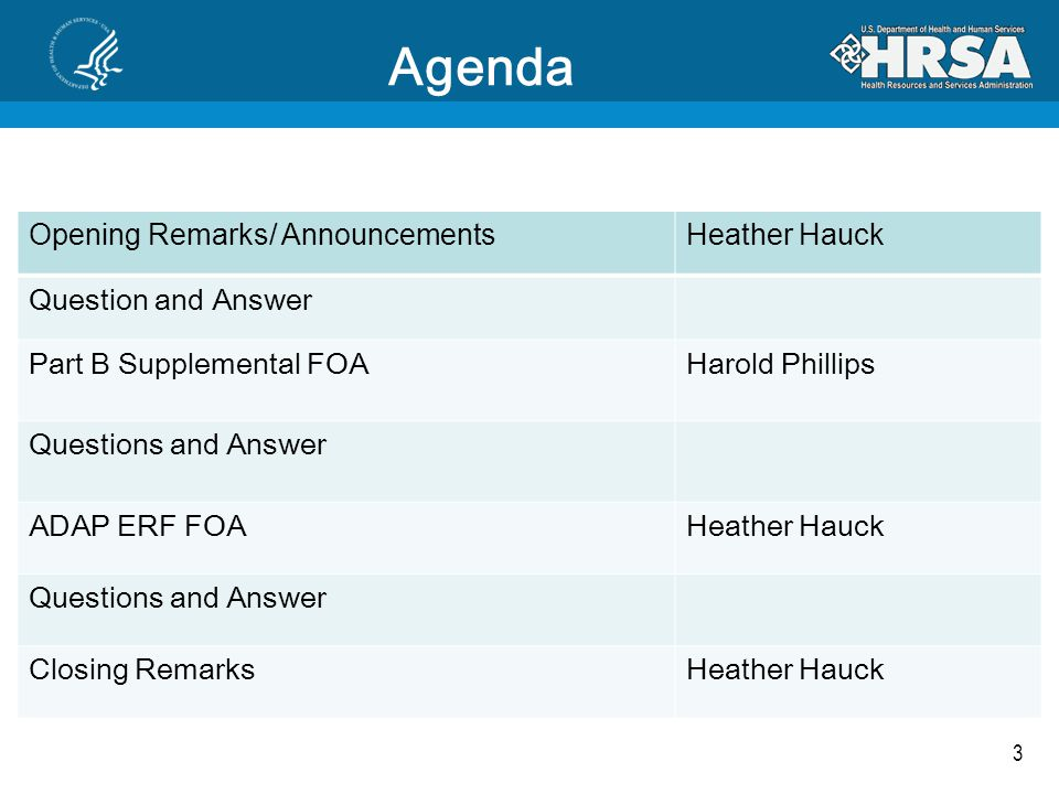3 Agenda Opening Remarks/ AnnouncementsHeather Hauck Question and Answer Part B Supplemental FOAHarold Phillips Questions and Answer ADAP ERF FOAHeather Hauck Questions and Answer Closing RemarksHeather Hauck