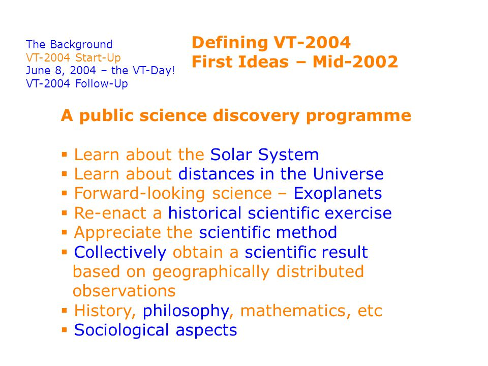 Defining VT-2004 First Ideas – Mid-2002 The Background VT-2004 Start-Up June 8, 2004 – the VT-Day.