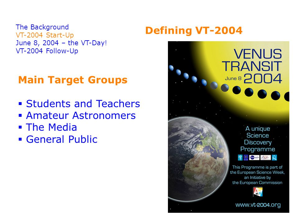 Defining VT-2004 The Background VT-2004 Start-Up June 8, 2004 – the VT-Day.
