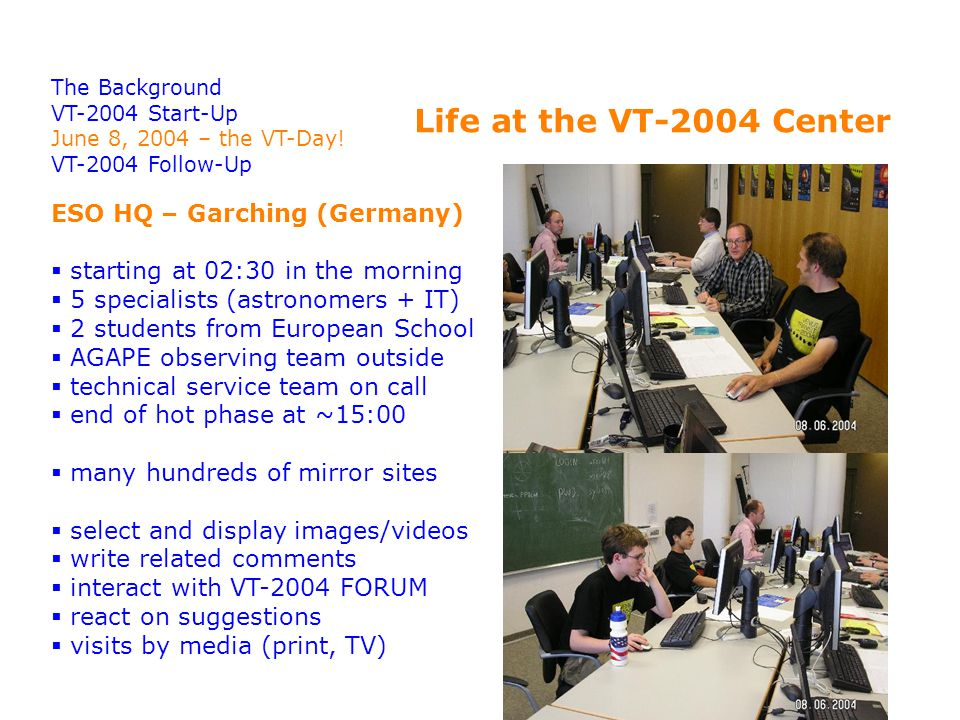 The Background VT-2004 Start-Up June 8, 2004 – the VT-Day.