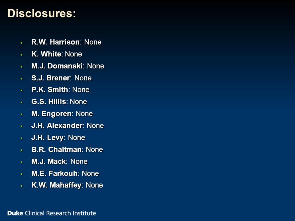 Disclosures:  R.W. Harrison: None  K. White: None  M.J.