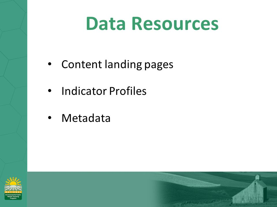 Data Resources Content landing pages Indicator Profiles Metadata