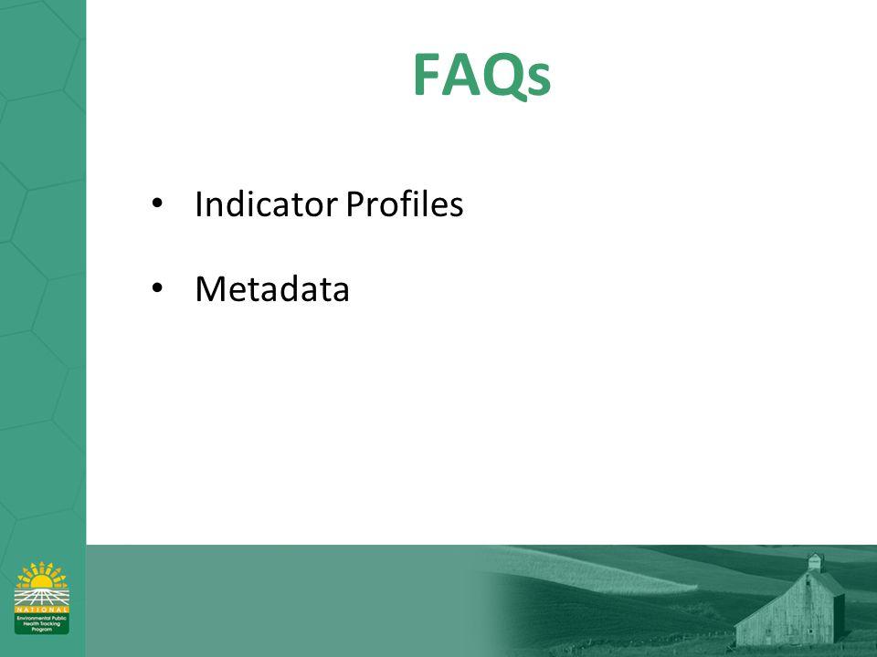 FAQs Indicator Profiles Metadata
