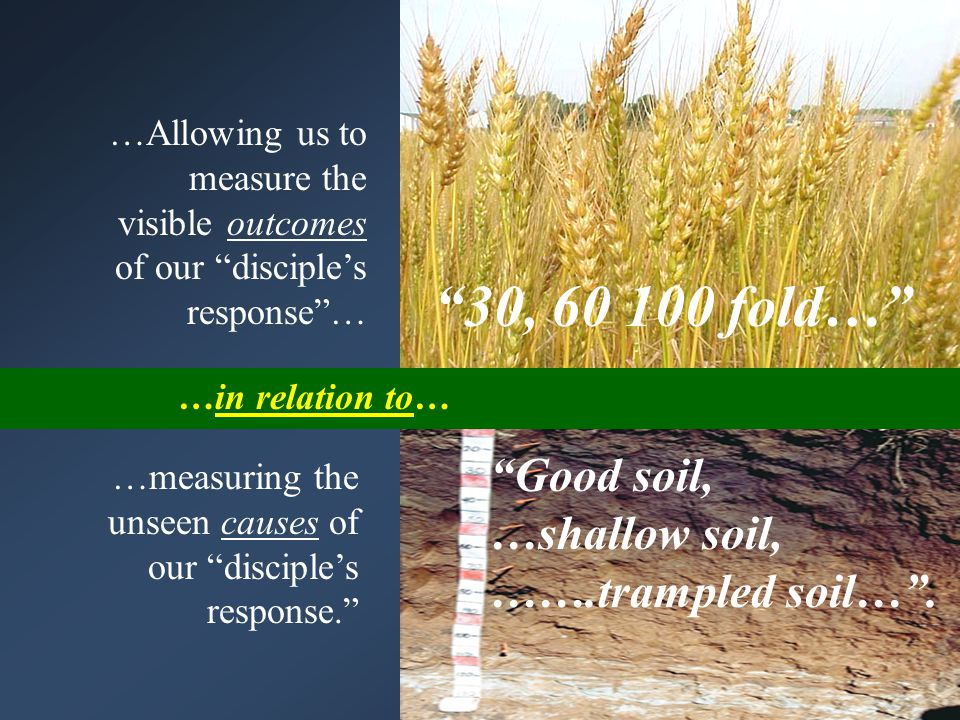 …Allowing us to measure the visible outcomes of our disciple's response … …measuring the unseen causes of our disciple's response. 30, 60 100 fold… Good soil, …shallow soil, …….trampled soil… .