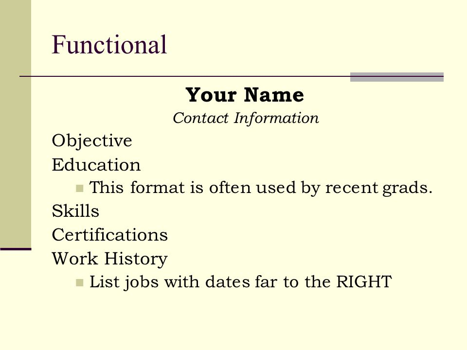 Functional Your Name Contact Information Objective Education This format is often used by recent grads.