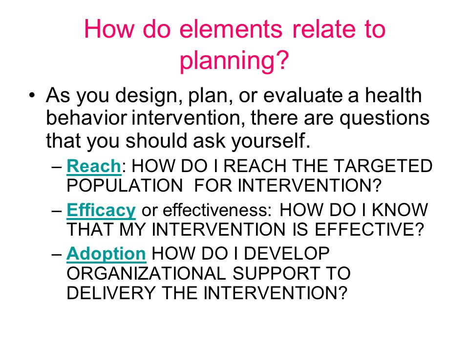 How do elements relate to planning.