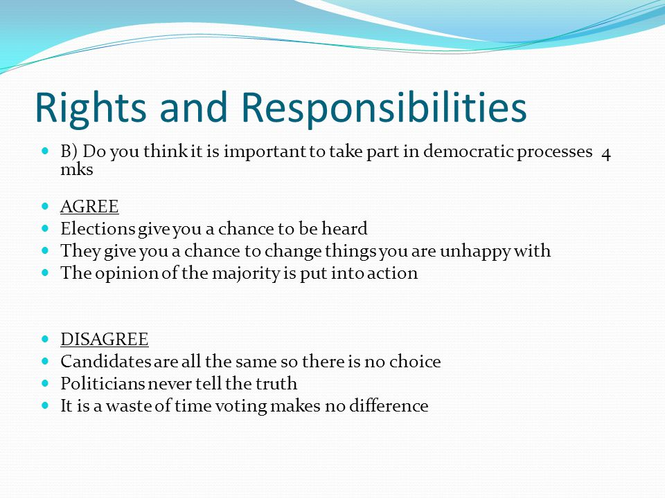Rights and Responsibilities B) Do you think it is important to take part in democratic processes 4 mks AGREE Elections give you a chance to be heard T