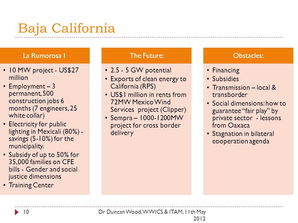 Baja California La Rumorosa 1 10 MW project - US$27 million Employment – 3 permanent, 500 construction jobs 6 months (7 engineers, 25 white collar) El