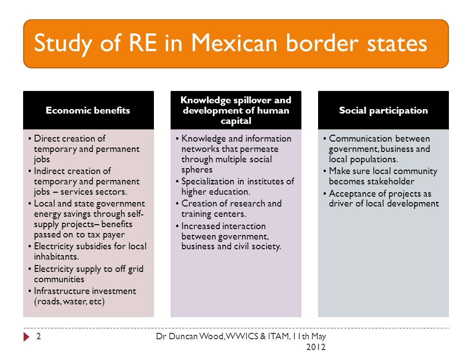 Study of RE in Mexican border states Economic benefits Direct creation of temporary and permanent jobs Indirect creation of temporary and permanent jobs – services sectors.