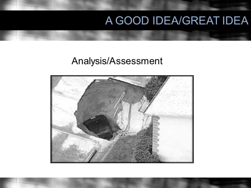 A GOOD IDEA/GREAT IDEA Analysis/Assessment