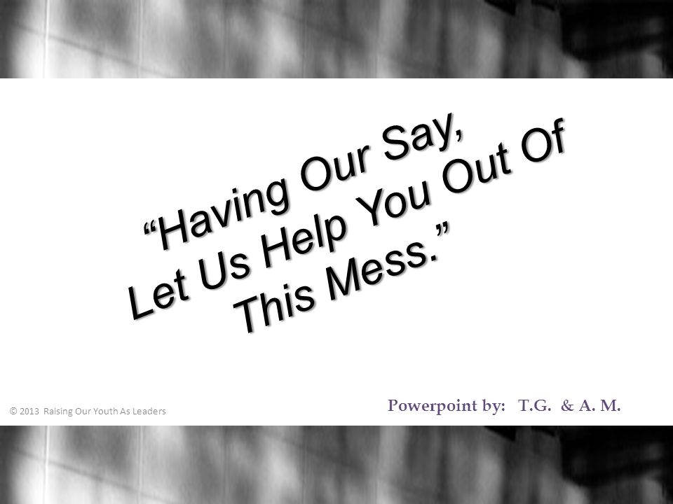 Having Our Say, Let Us Help You Out Of This Mess. Powerpoint by: T.G.